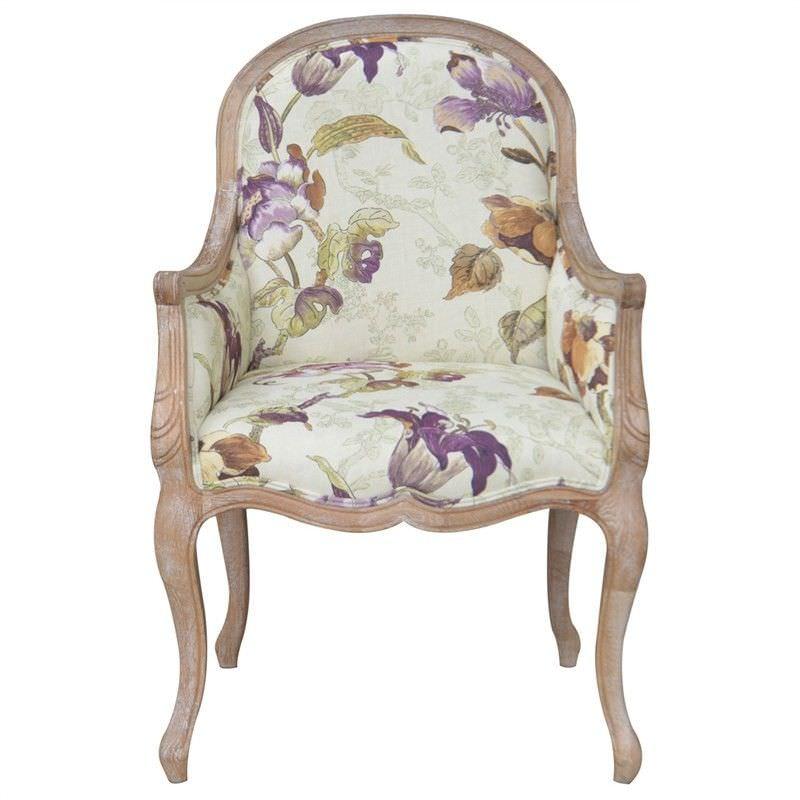 Jessica Cotton Fabric & Oak Timber Armchair, Lime Washed Oak / Multi
