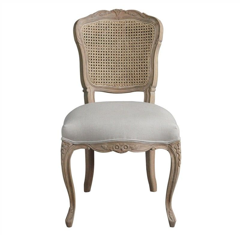 Jasie Rattan Back Oak Timber Dining Chair with Linen Seat, Oatmeal/Weathered Oak