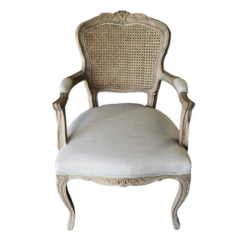Jasie Rattan Back Oak Timber Dining Armchair with Linen Seat, Oatmeal/Weathered Oak