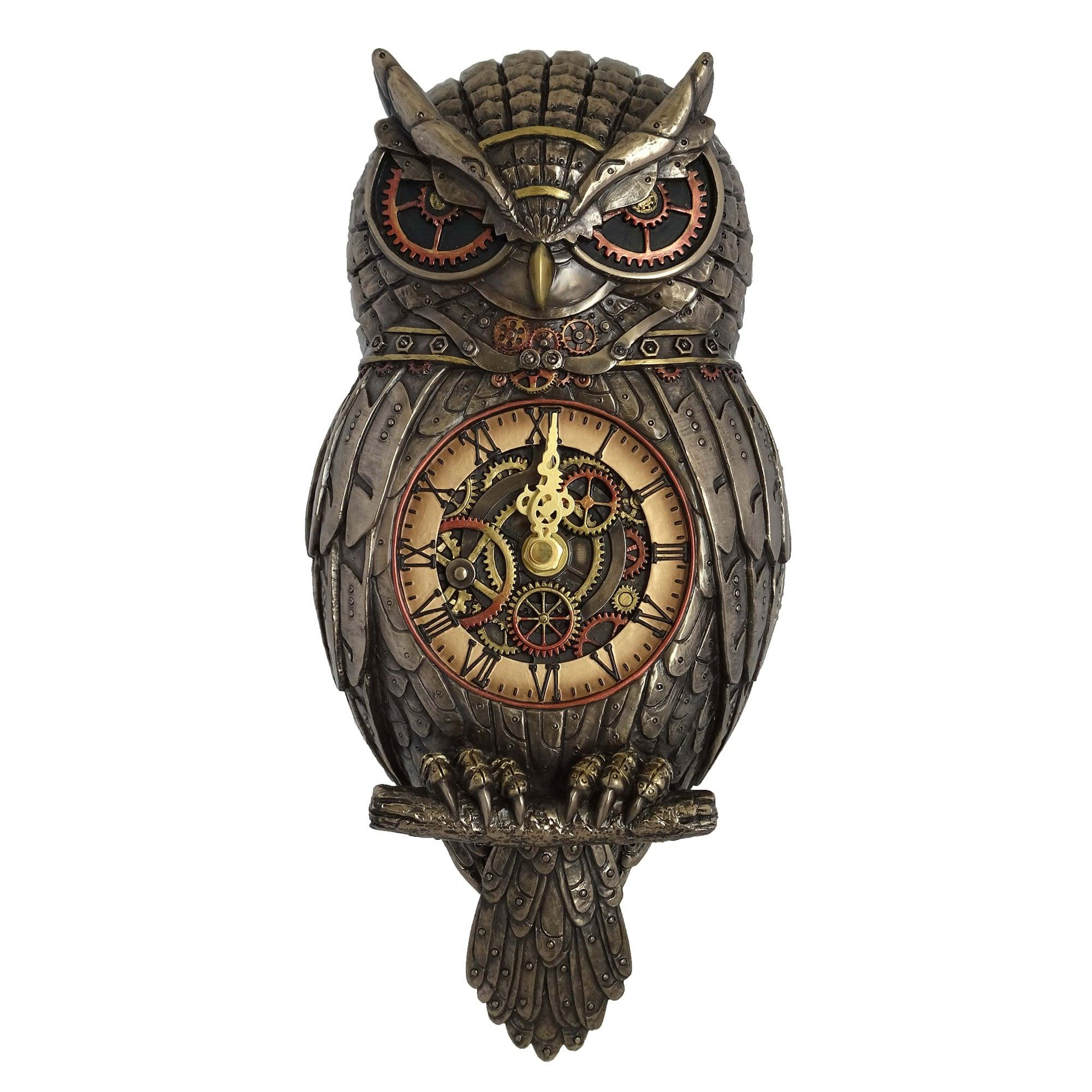 Veronese Cold Cast Bronze Coated Steampunk Statue Wall Clock, Owl