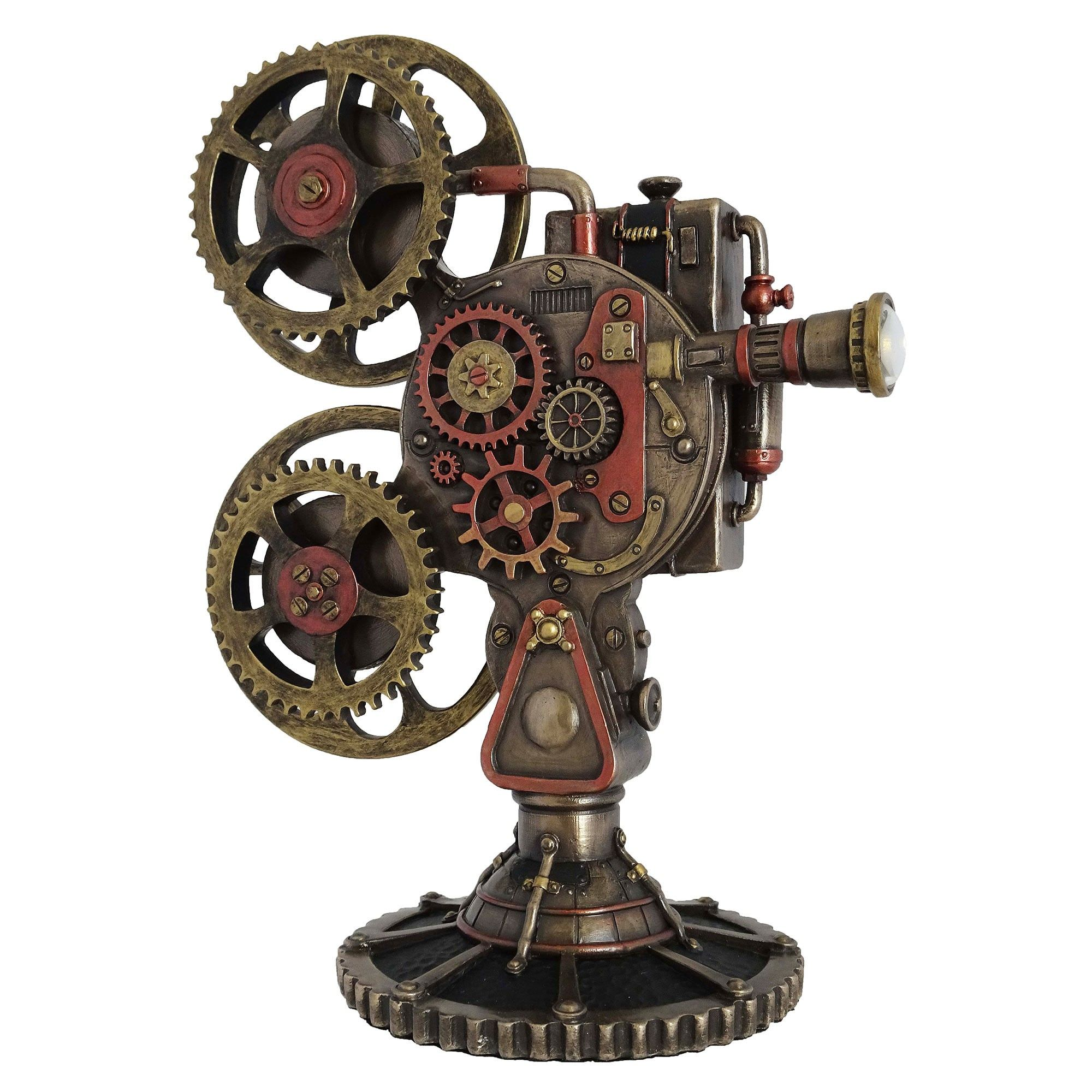 Veronese Cold Cast Bronze Coated Steampunk Statue, Film Projector with LED Light