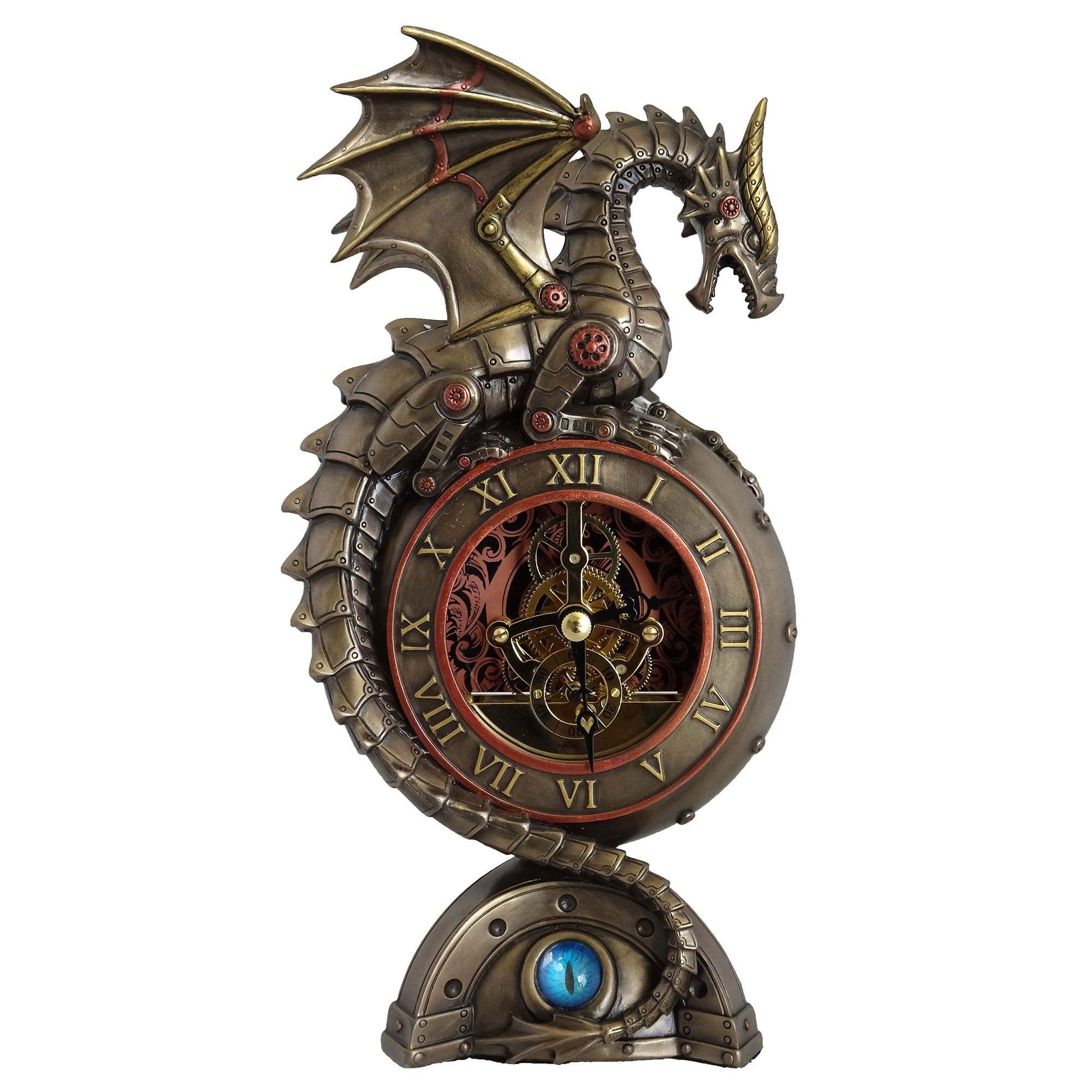 Steampunk Statue Table Clock, Dragon