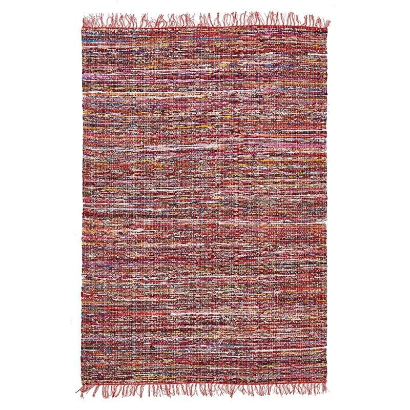 Primal Hand Loomed Cotton Chindi Rug in Red - 220x150cm