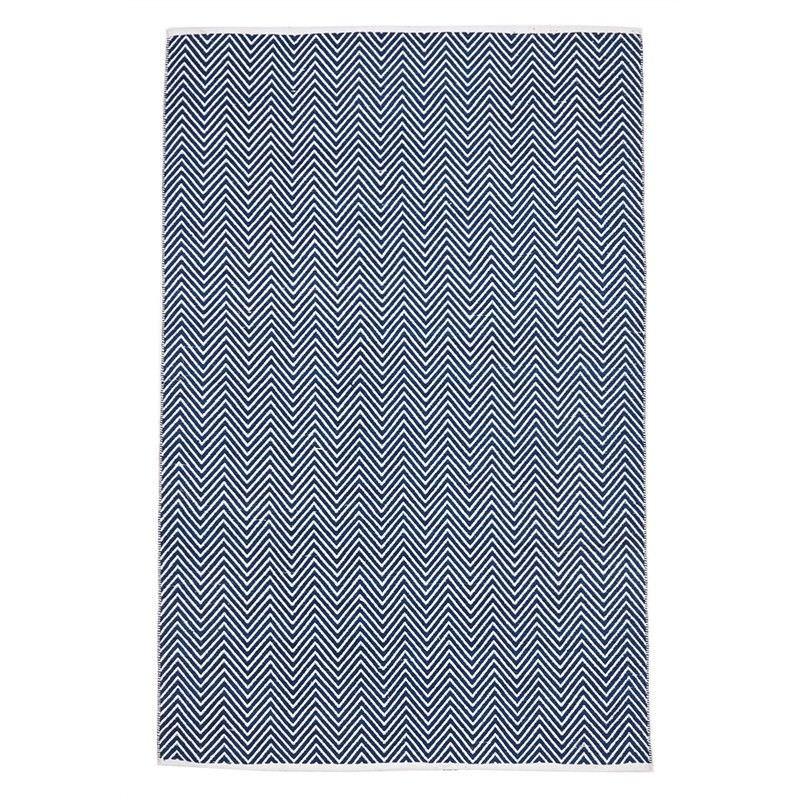 Villa Herringbone Hand Loomed Cotton Rug in Navy - 220x150cm