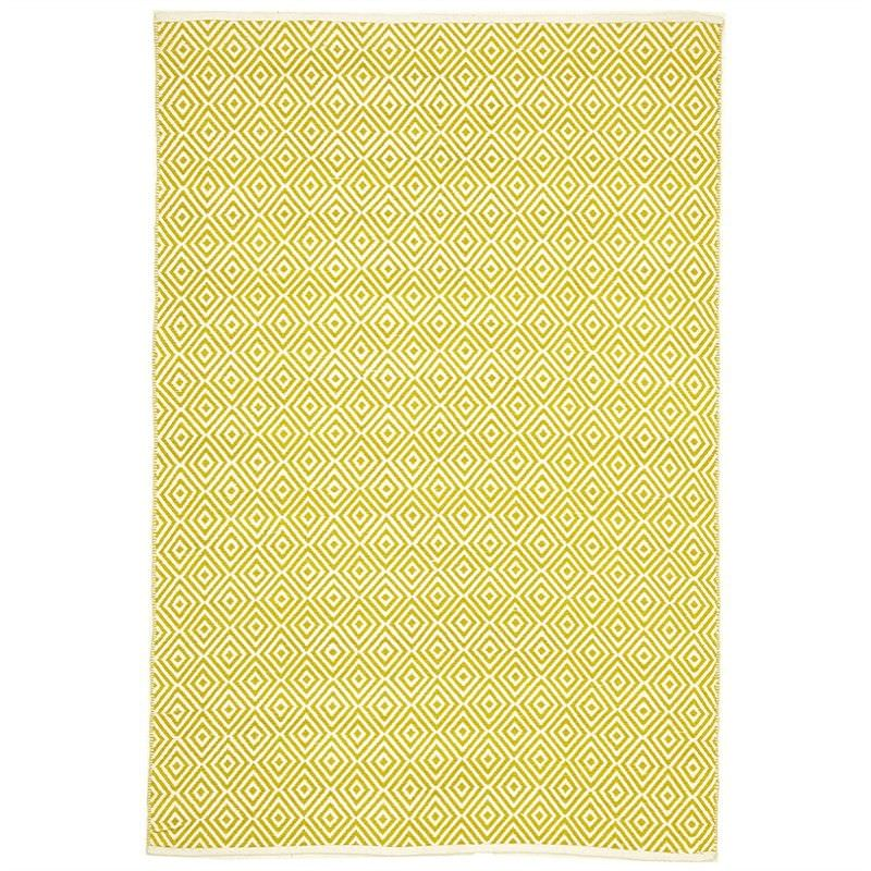 Villa Diamond Hand Loomed Cotton Rug in Yellow - 220x150cm