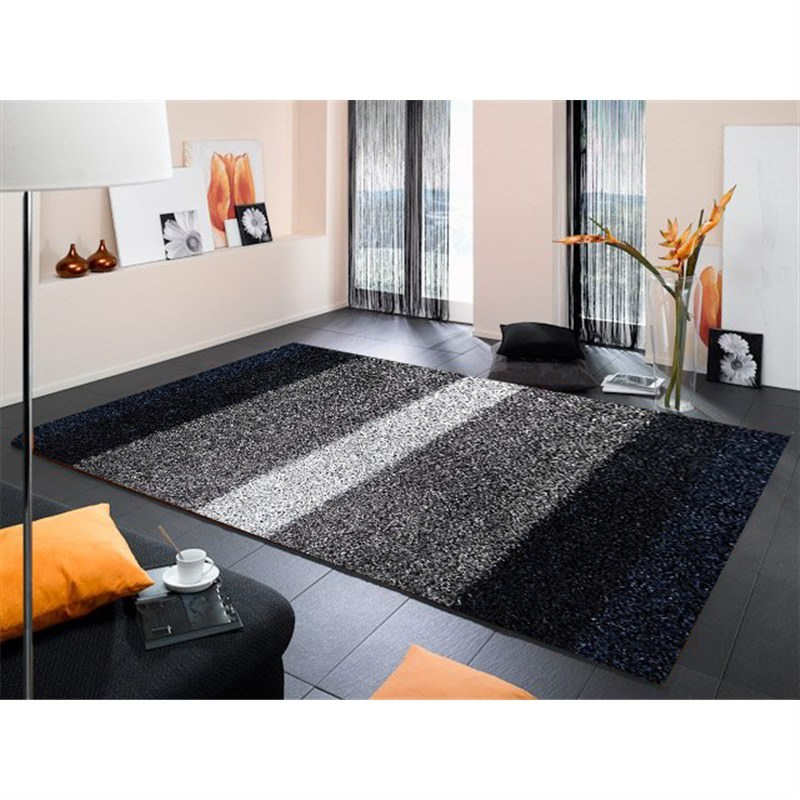 Designer Shaggy Rug - Stripes Grey-Black 160 X 230CM