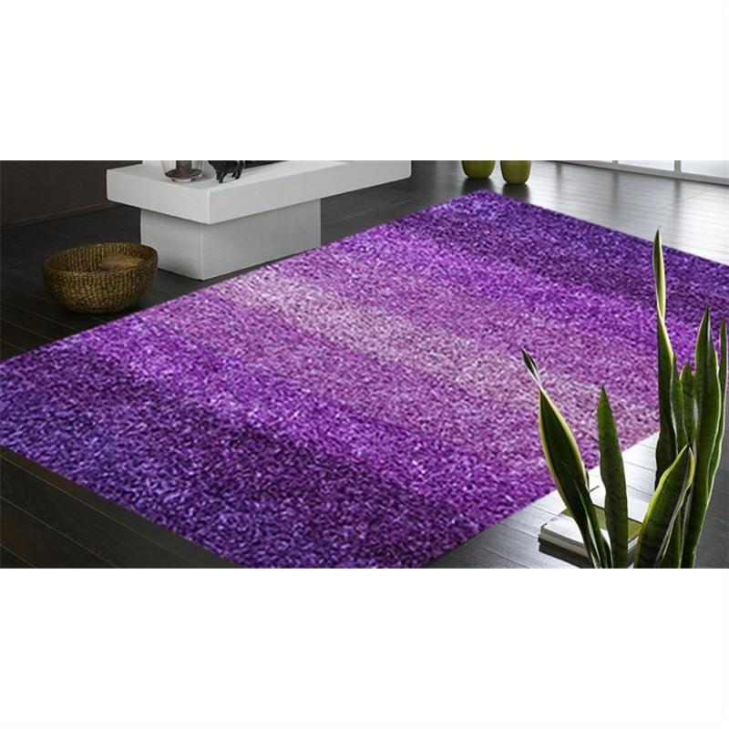 Designer Shaggy Rug - Stripes Purple 160 X 230CM