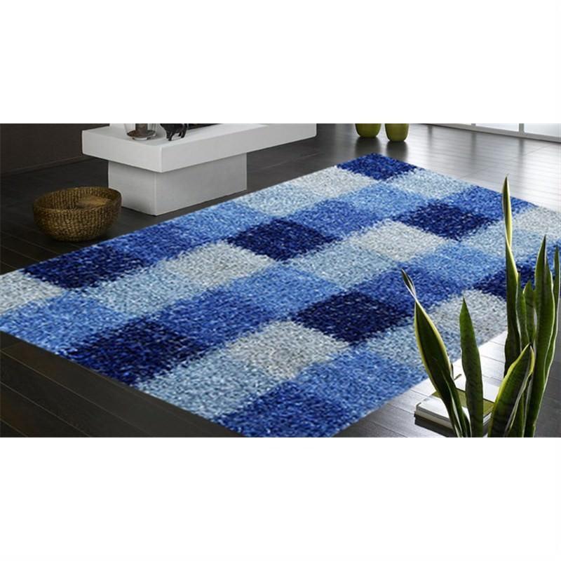 Designer Shaggy Rug - Boxes Blue 160 X 230CM