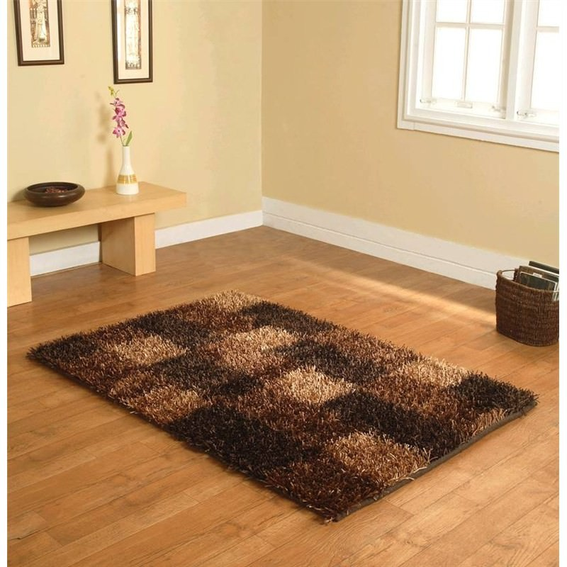 Designer Shaggy Rug - Boxes Brown 160 X 230CM