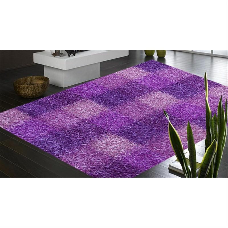 Designer Shaggy Rug - Boxes Purple 160 X 230CM