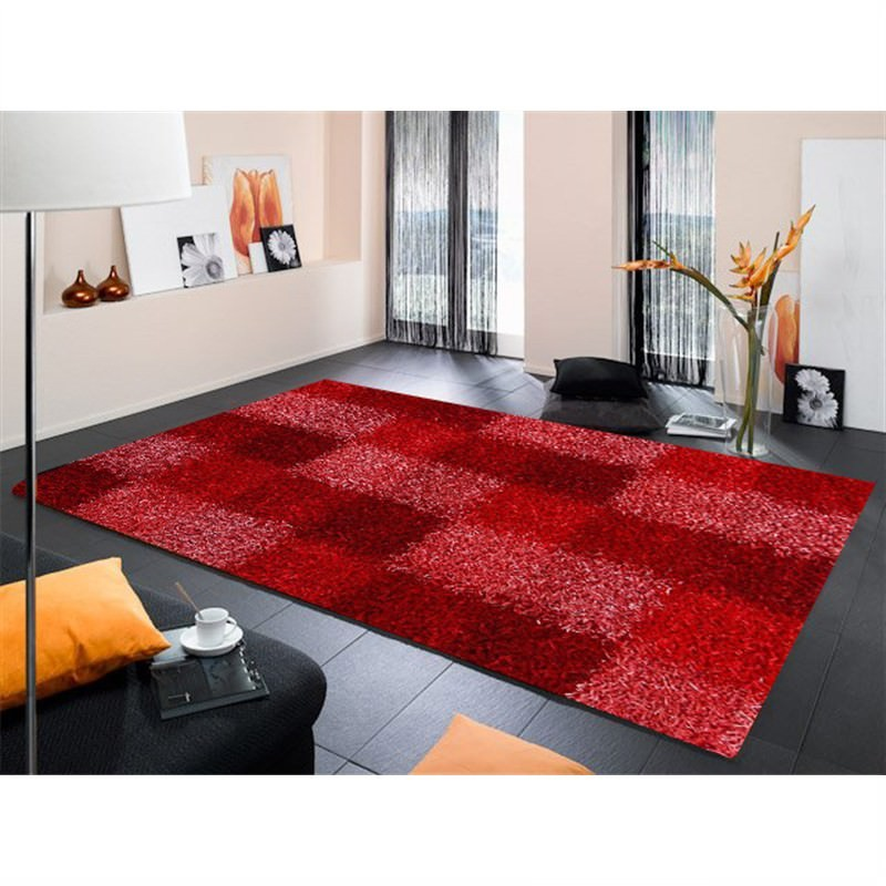 Designer Shaggy Rug - Boxes RED 160 X 230CM