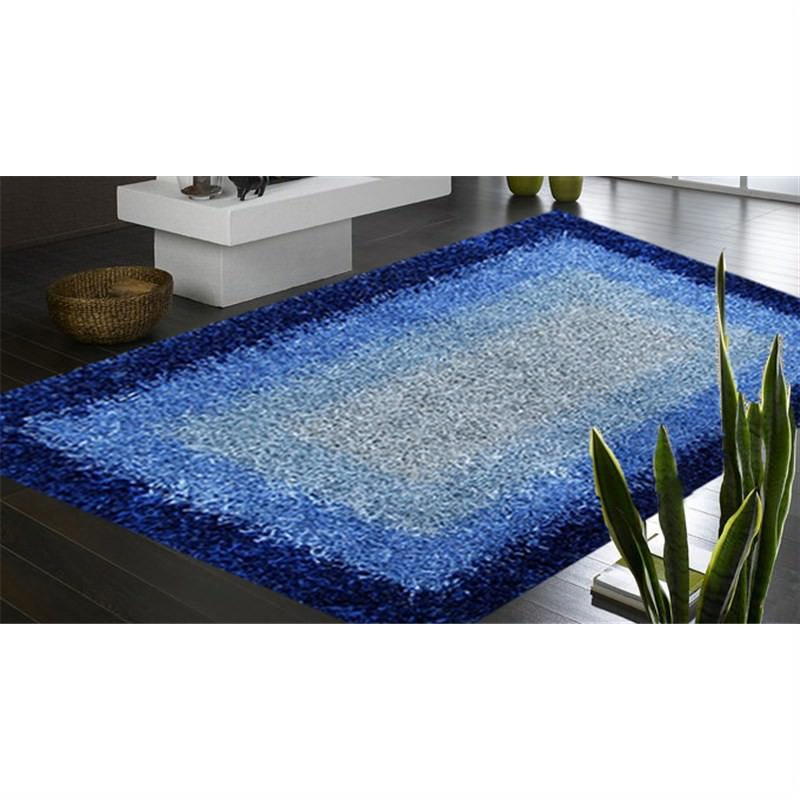 Designer Shaggy Rug - Frame Blue 160 X 230CM