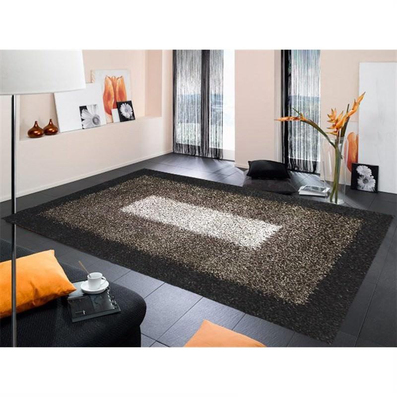 Designer Shaggy Rug - Frame Grey-Black 160 X 230CM