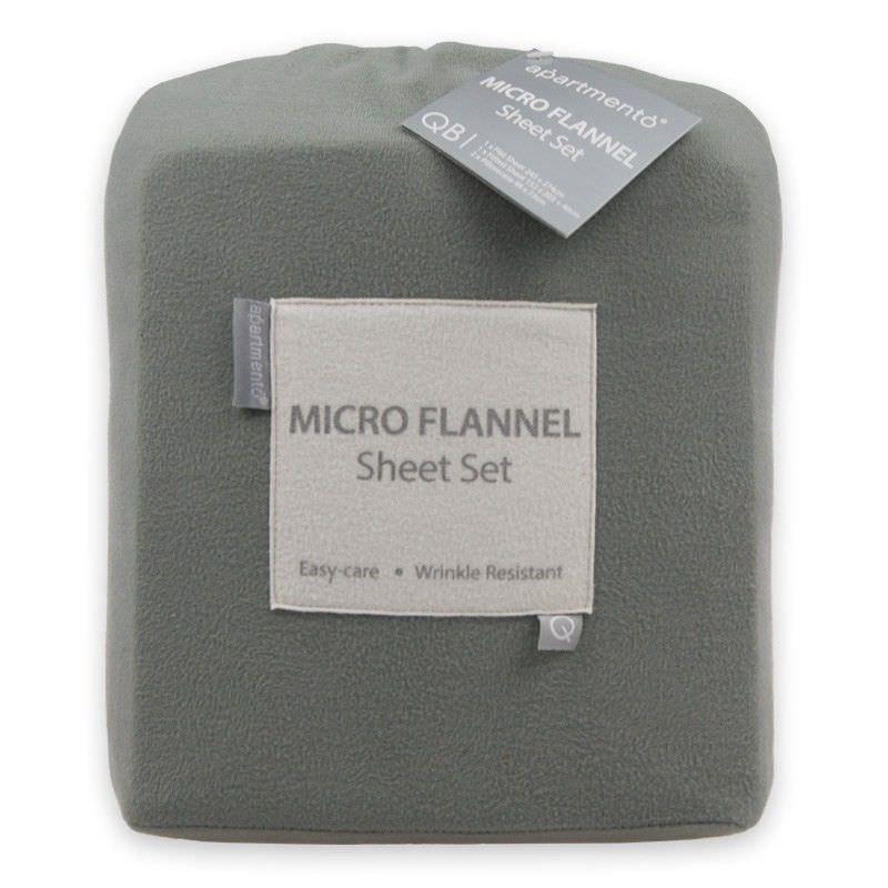 Apartmento Micro Flannel Queen Bed Sheet Set - Grey
