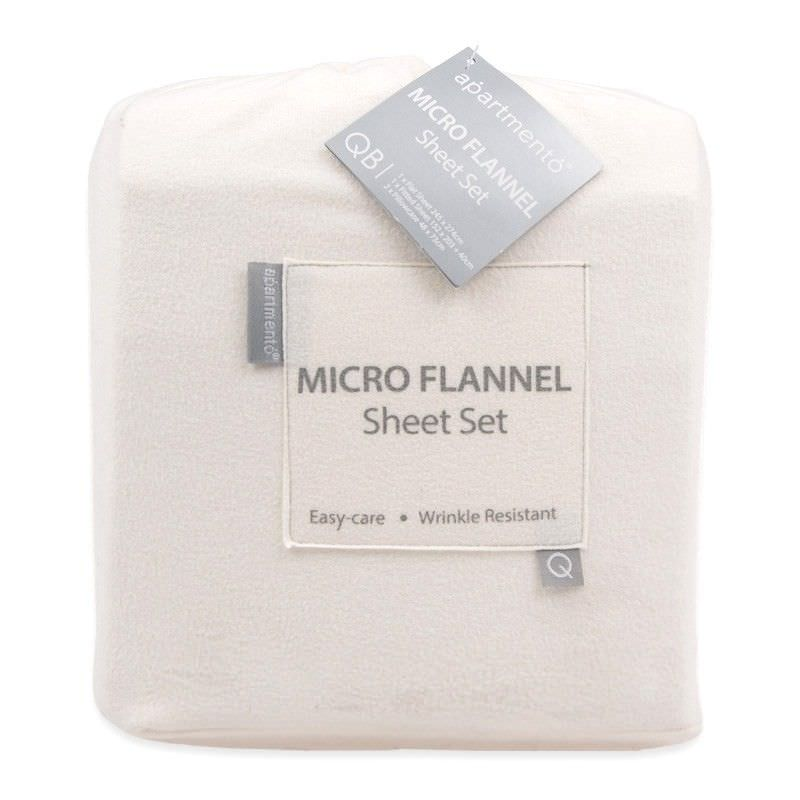 Apartmento Micro Flannel Double Bed Sheet Set - Snow