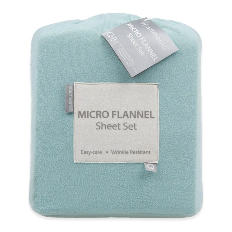 Apartmento Micro Flannel King Bed Sheet Set - Turquoise