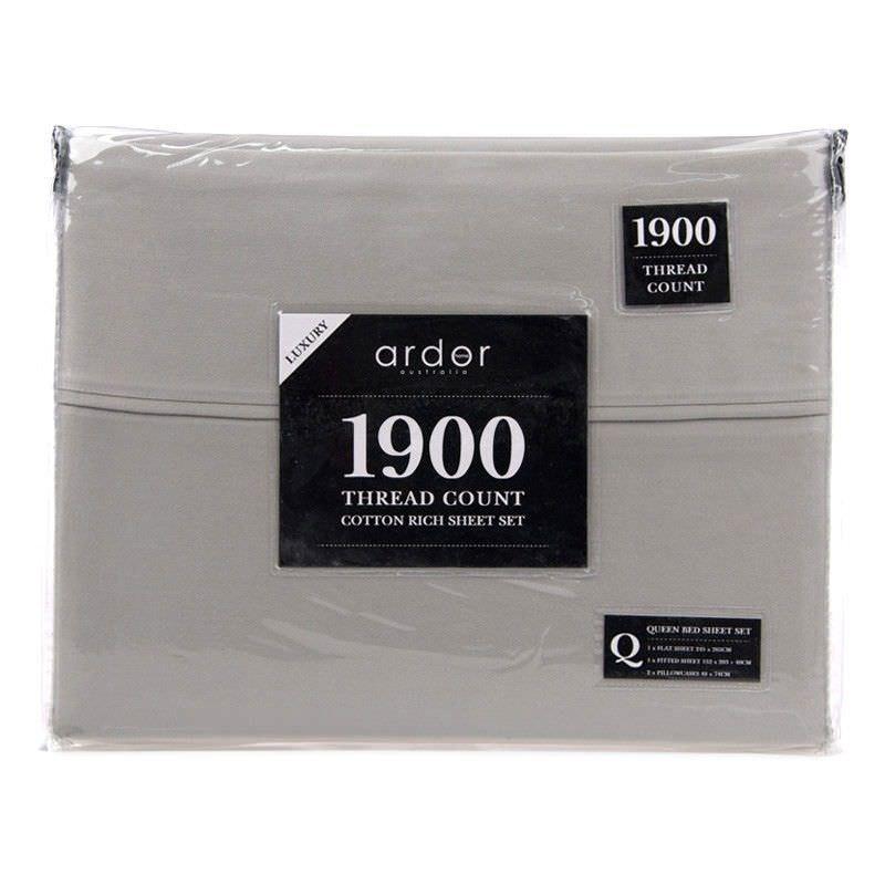 Ardor 1900TC Cotton Rich King Bed Sheet Set - Grey