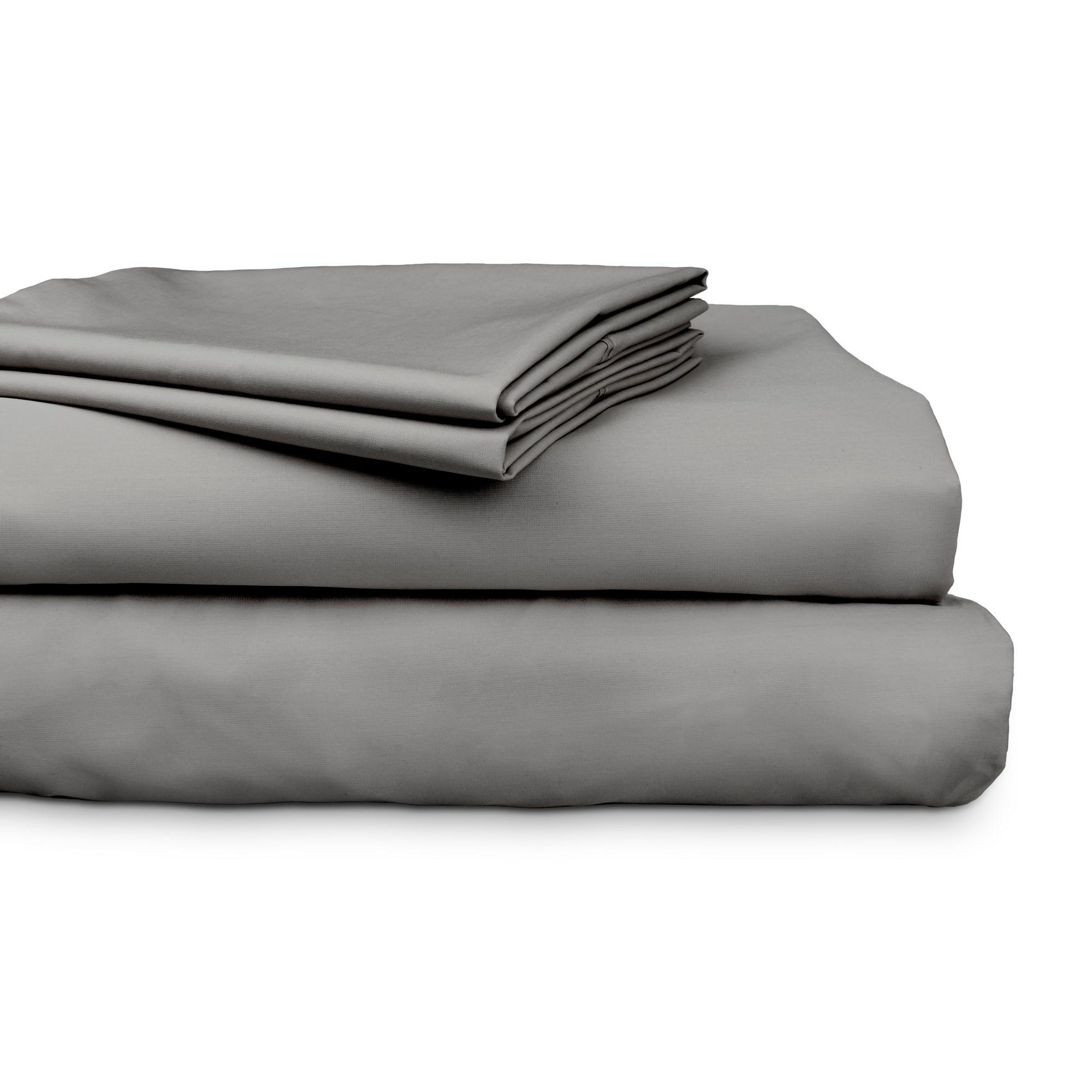 Ajee 4 Piece 300TC Cotton Sheet Set, Queen, Charcoal