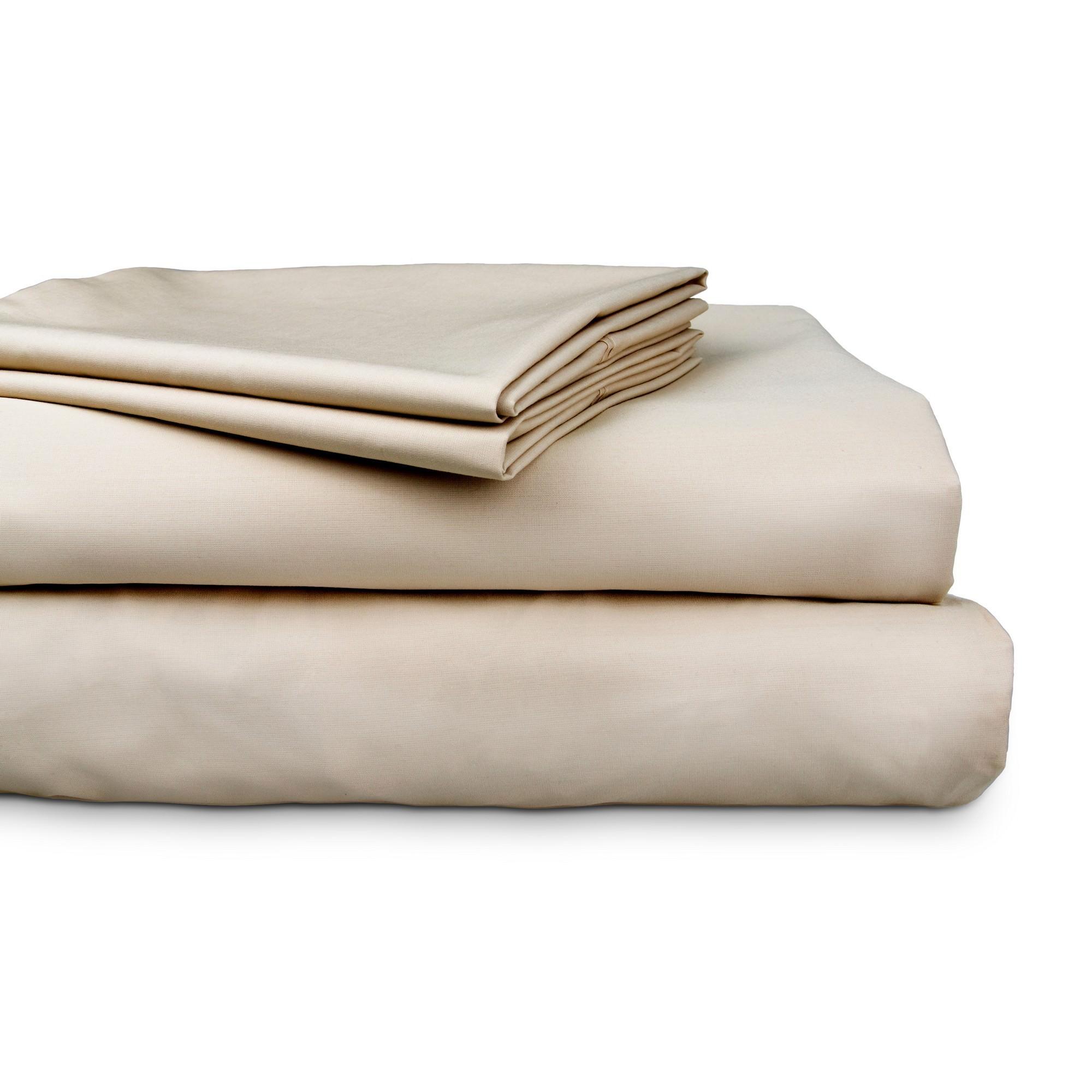 Ajee 4 Piece 300TC Cotton Sheet Set, Double, Stone