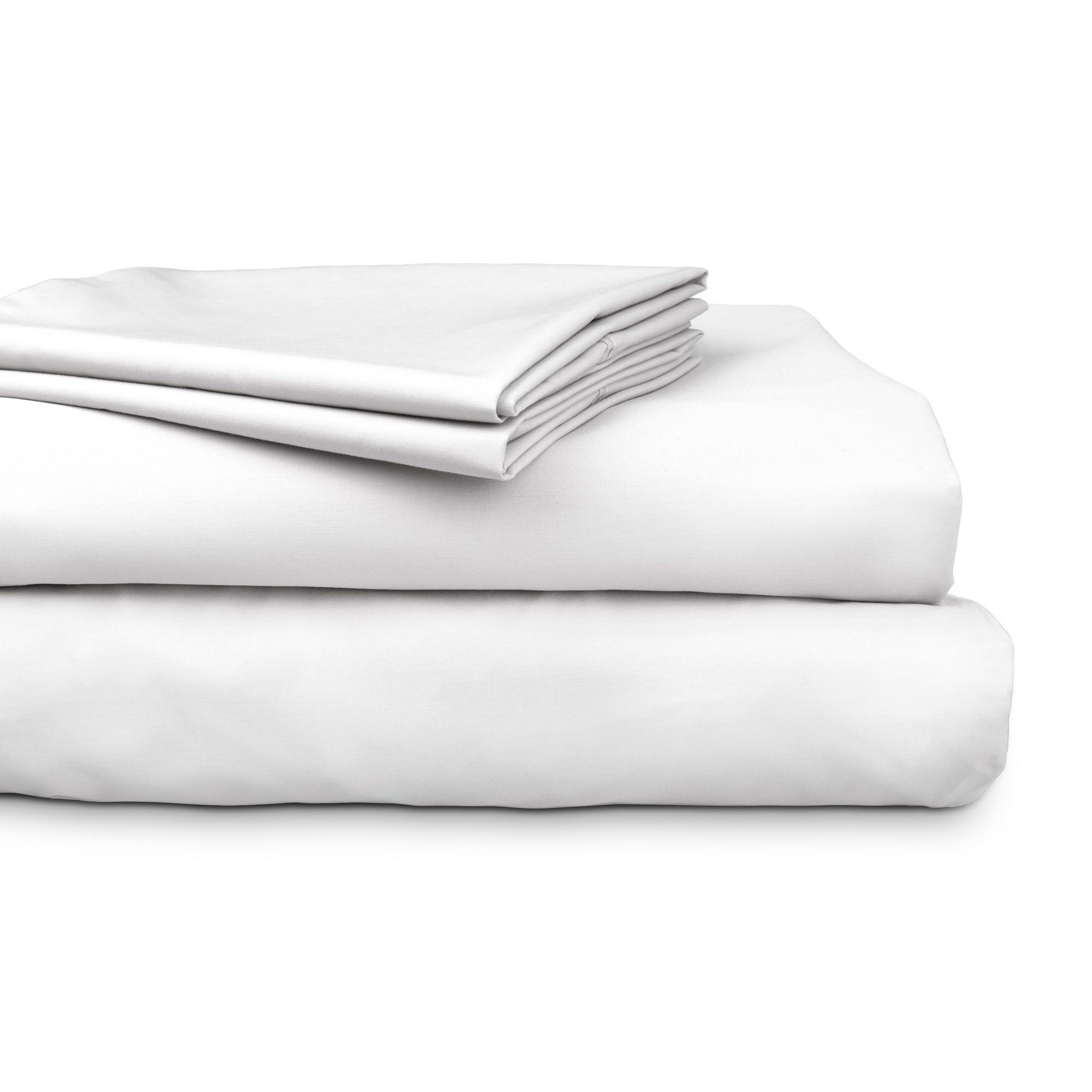 Ajee 4 Piece 300TC Cotton Sheet Set, King, White