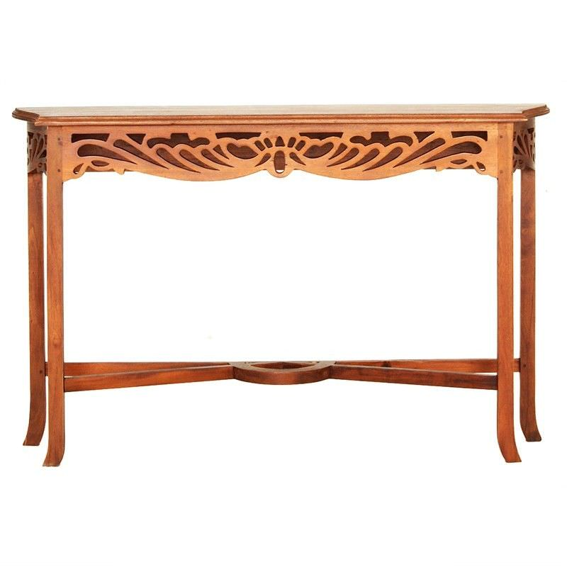 Maciej Solid Mahogany Timber 120cm Sofa Table - Light Pecan