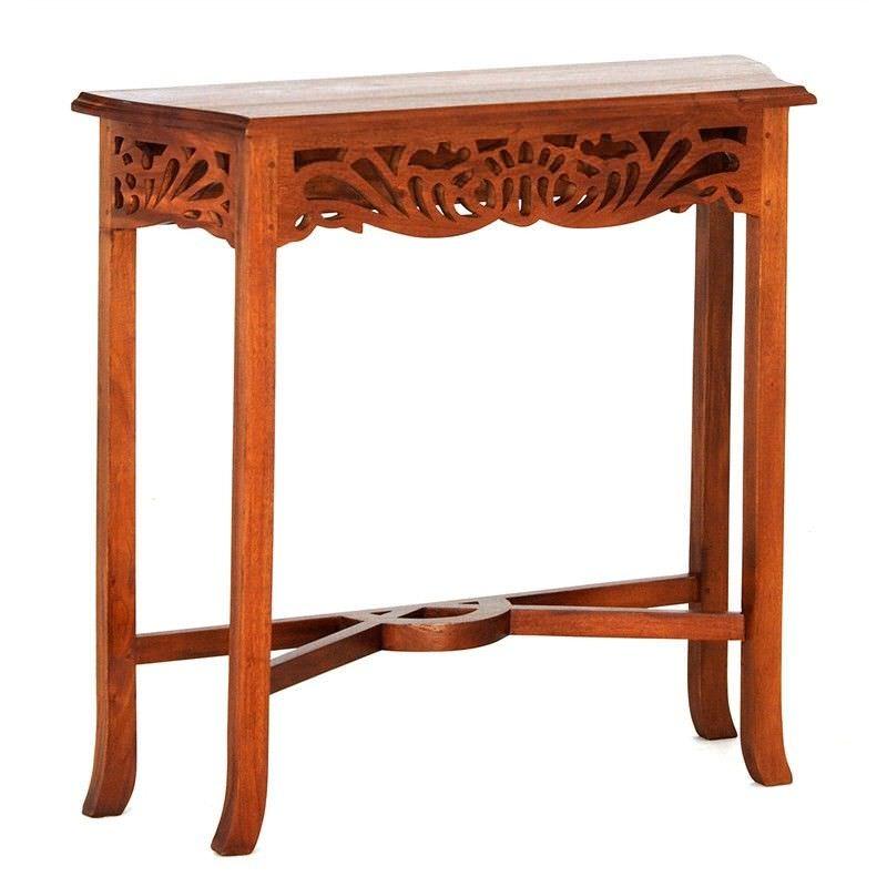 Maciej Solid Mahogany Timber 82cm Sofa Table - Light Pecan