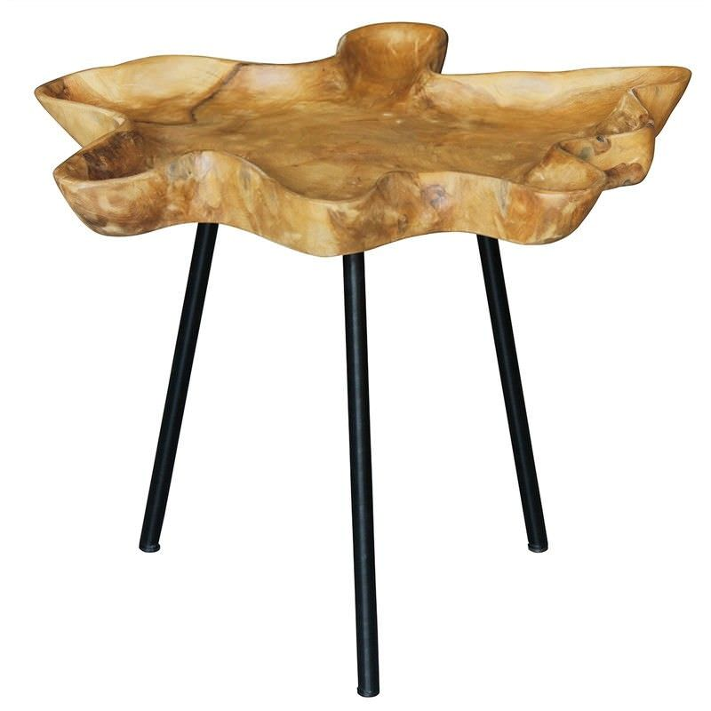 Gable Teak Timber and Iron Side Table