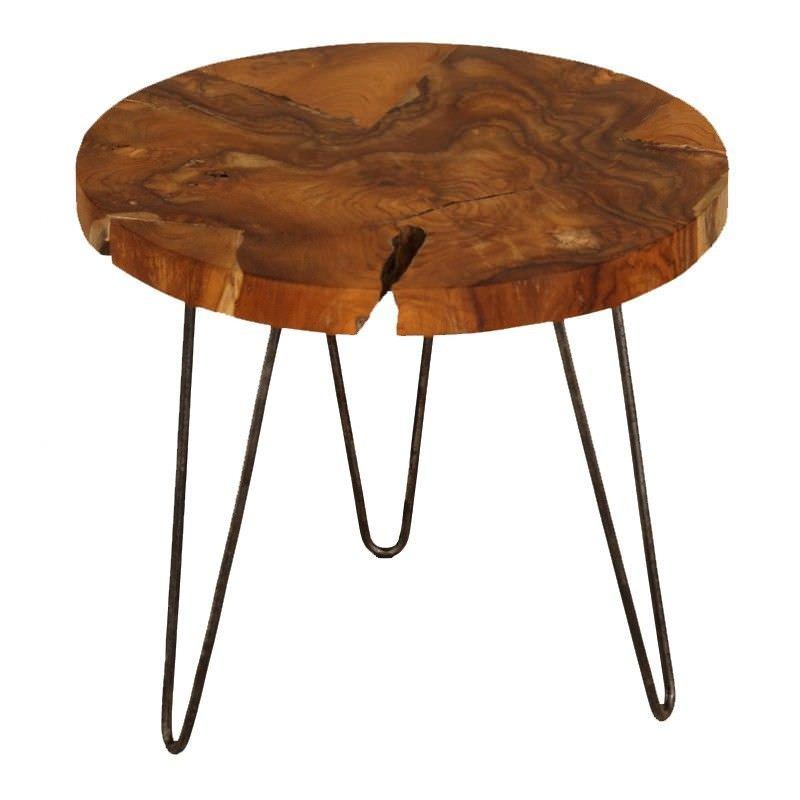 Teak Root Timber & Iron Lamp Table