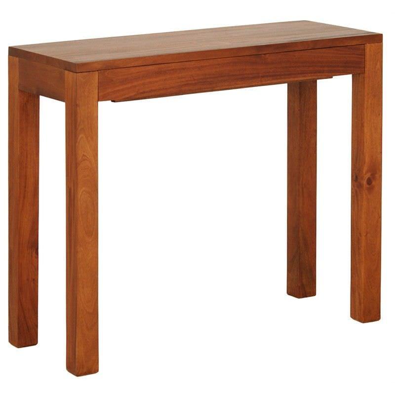 Amsterdam Solid Mahogany Timber Single Drawer 90cm Sofa Table - Light Pecan