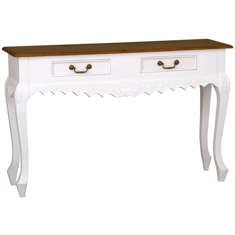 Queen Ann Nouveau Solid Mahogany Timber 2 Drawer Sofa Table,  White/Caramel