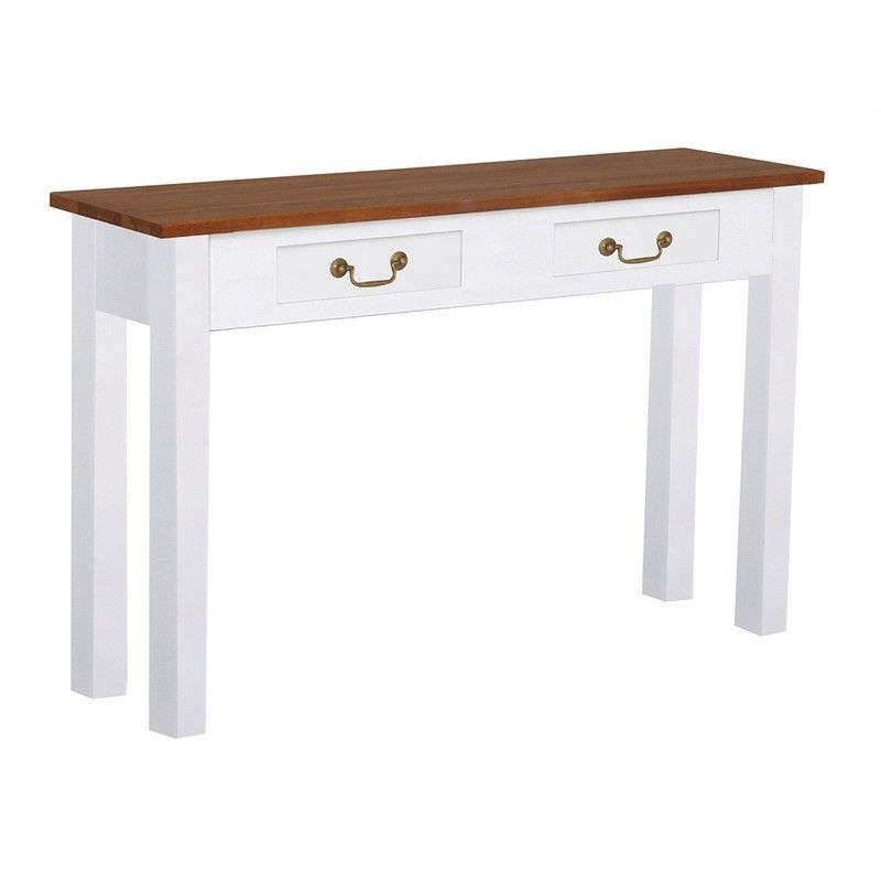 Tasmania Mahogany Timber 2 Drawer 120cm Sofa Table, Caramel/White