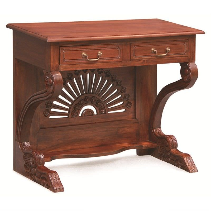 Double-Drawer Solid Mahogany Desk W-Fan Carving - Mahogany