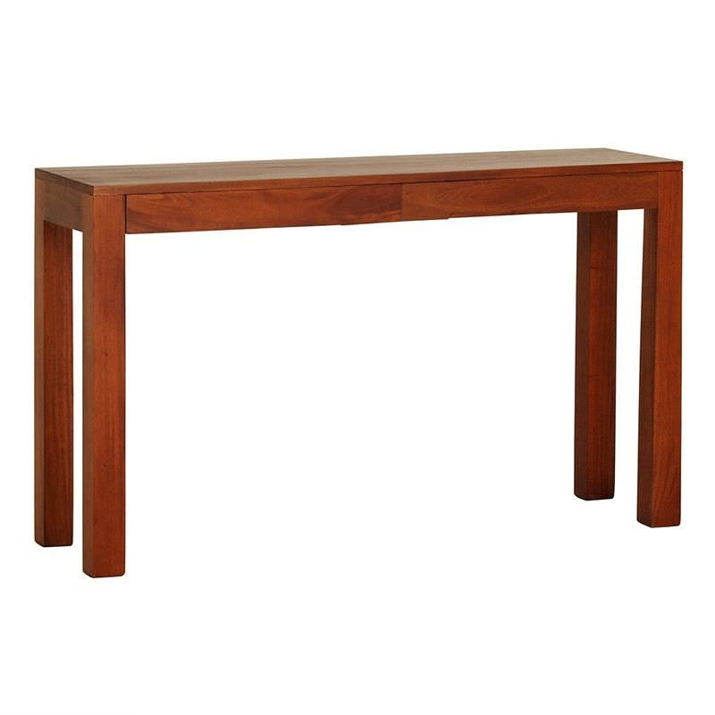 Amsterdam Solid Mahogany Timber 2 Drawer 130cm Sofa Table - Light Pecan