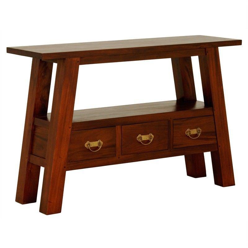 Showa Solid Mahogany Timber 3 Drawer Console Table - Mahogany