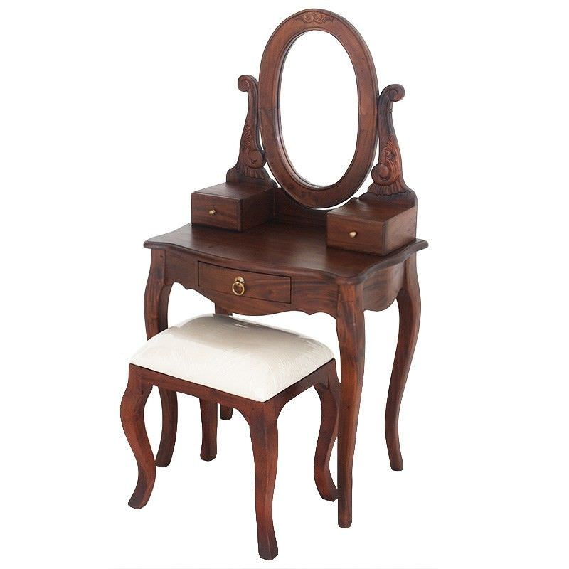 Queen Ann Nouveau Solid Mahogany Timber Dressing Table with Stool - Mahogany