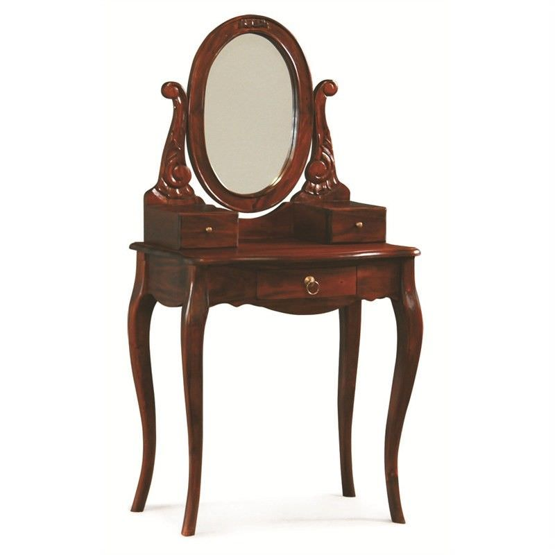 Queen Ann Mahogany Timber Oval Mirror Dressing Table, Mahogany