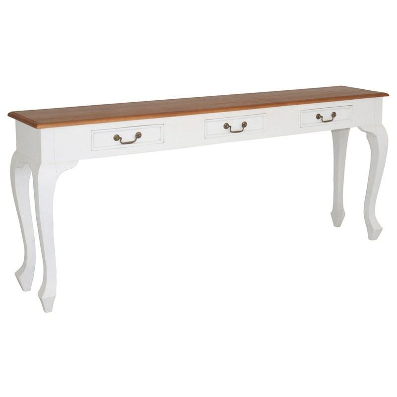 Queen Ann Solid Mahogany Timber 3 Drawer 180cm Sofa Table - White/Caramel