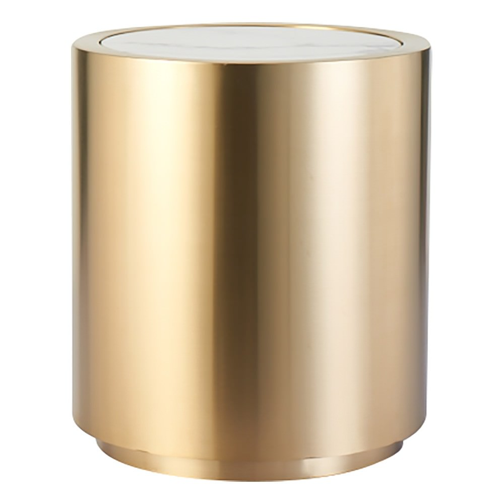 Goldsmith Faux Marble Topped Stainless Steel Round Side Table
