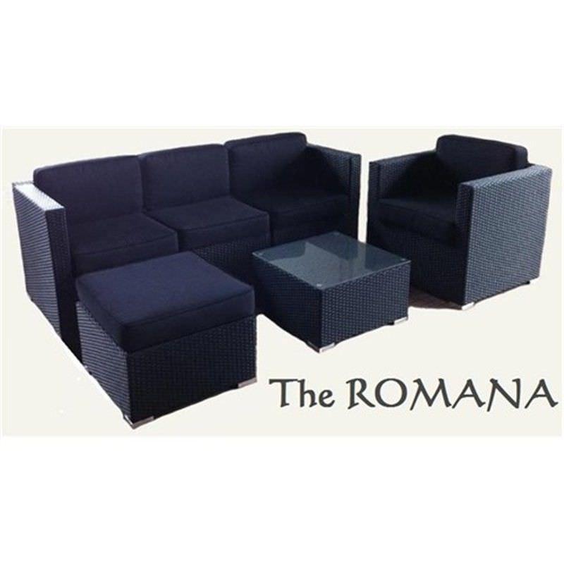 STANFORD II Wicker Sofa Setting Black UV Treated Weather Proff