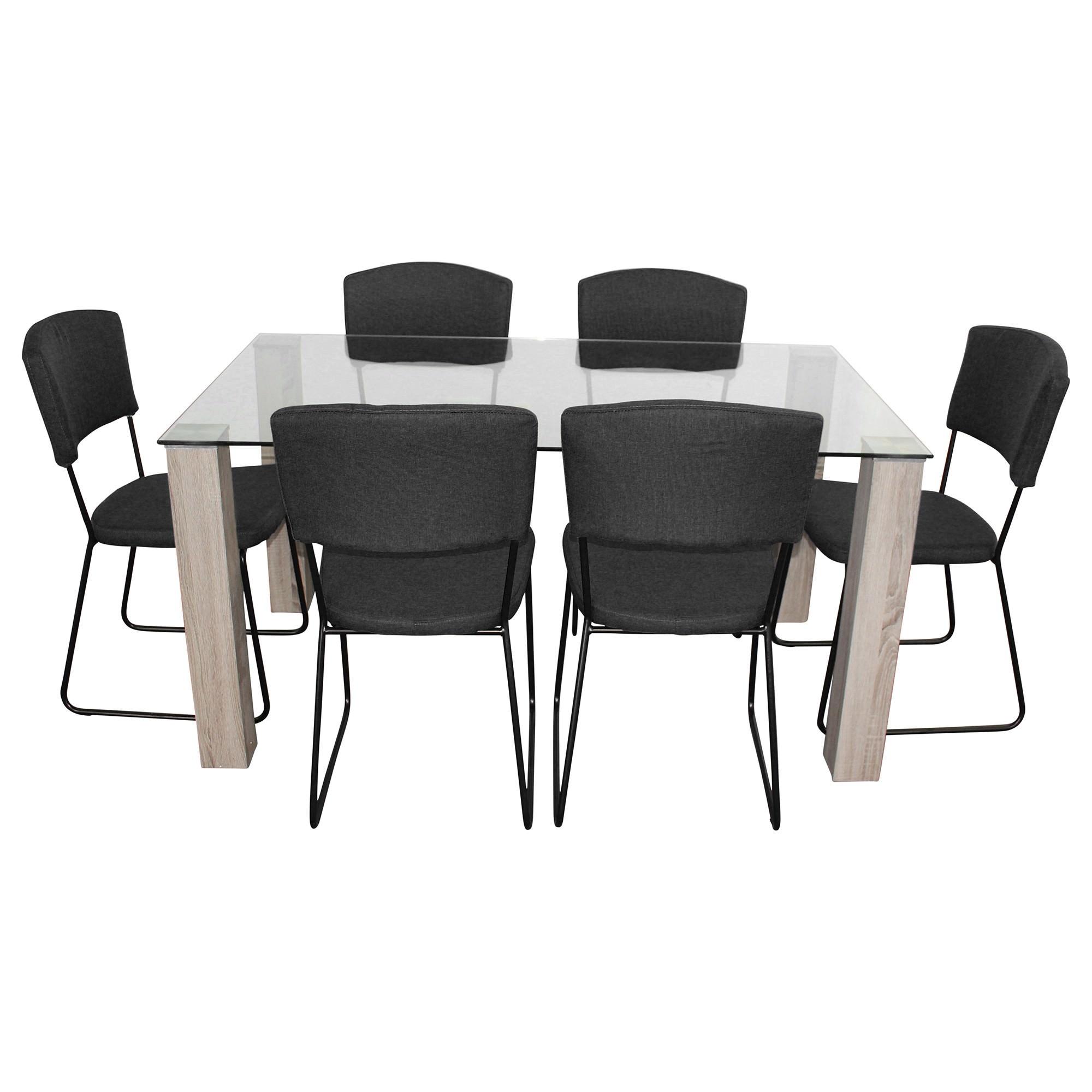 Emilio 7 Piece Glass Top Dining Table Set, 160cm, Black Arezzo Chair
