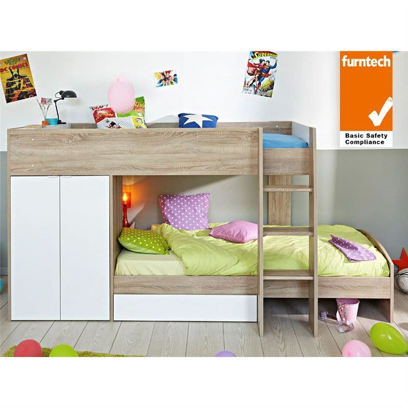 parisot stim french made single bunk bed with wardrobe u0026 storage