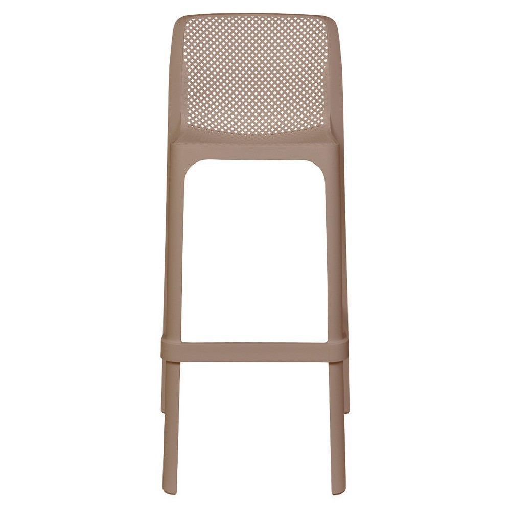 Net Italian Made Commercial Grade Indoor / Outdoor Bar Stool, Taupe