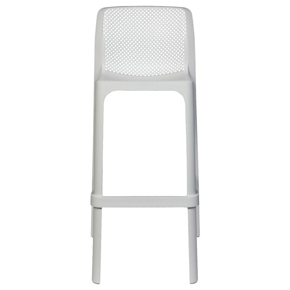 Net Italian Made Commercial Grade Indoor / Outdoor Bar Stool, White