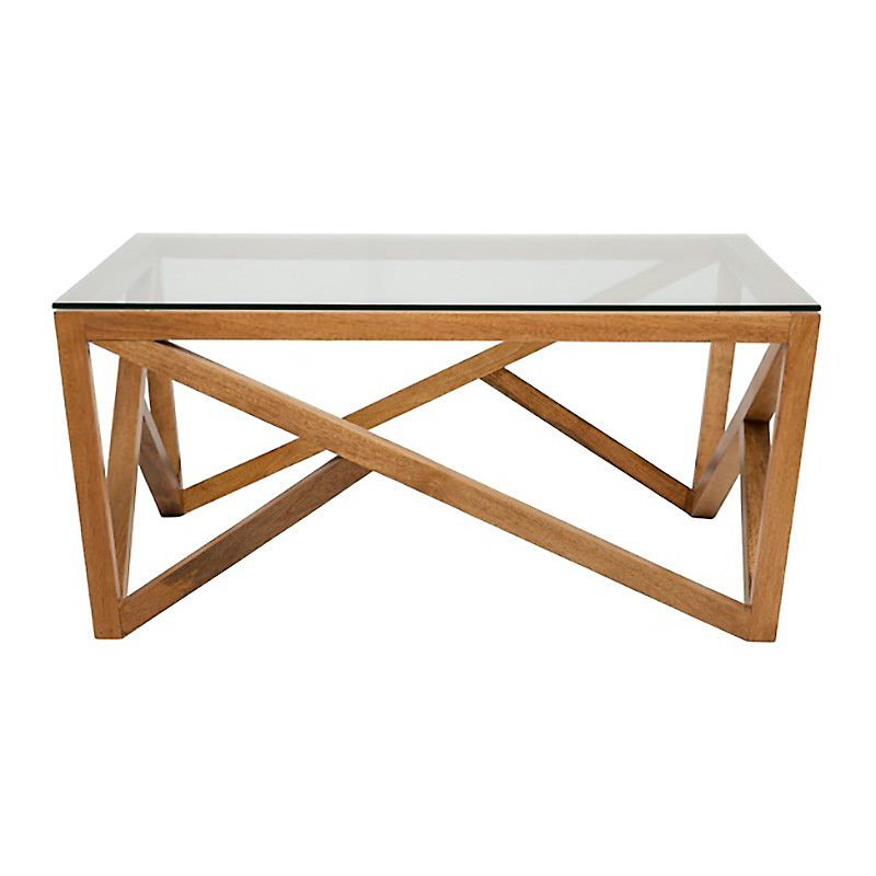 Stockholm Glass Topped Teak Timber Coffee Table, 100cm