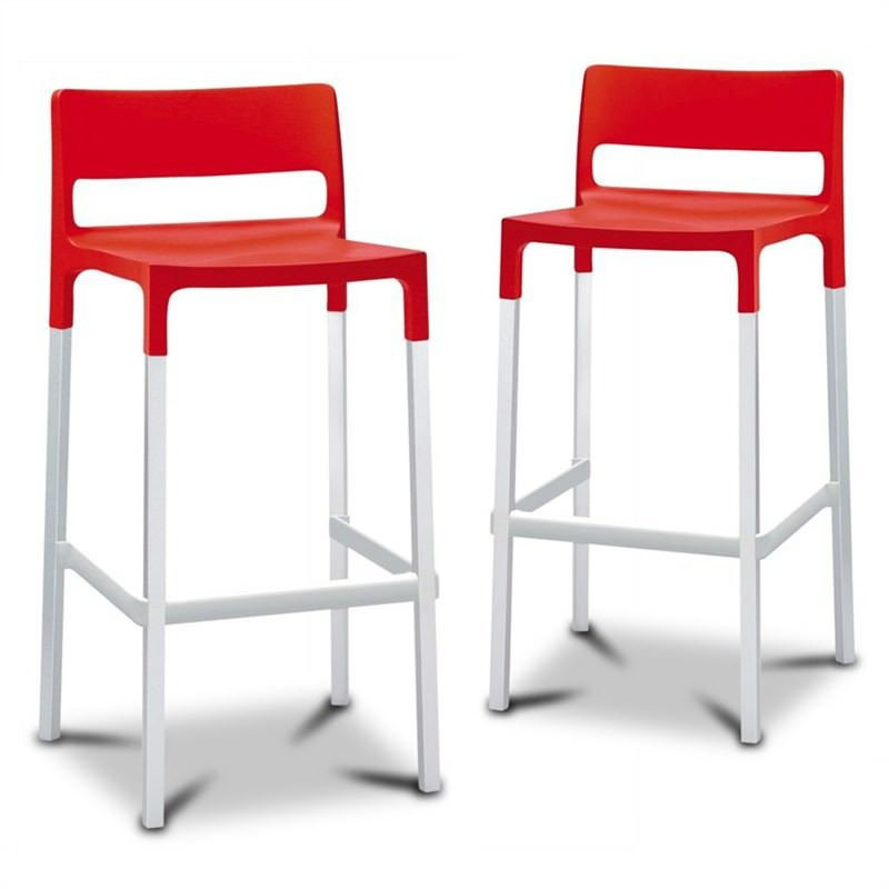 Divo Set of 2 Commercial Grade Stools - Red