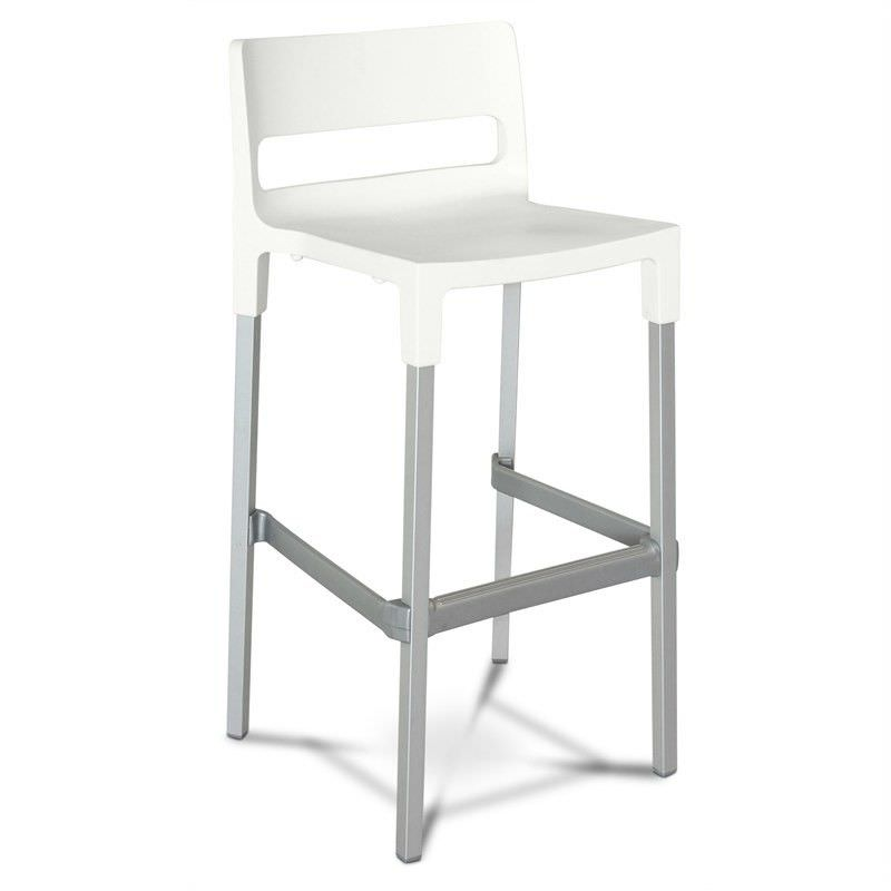 Divo Commercial Grade Indoor/Outdoor Bar Stool, White