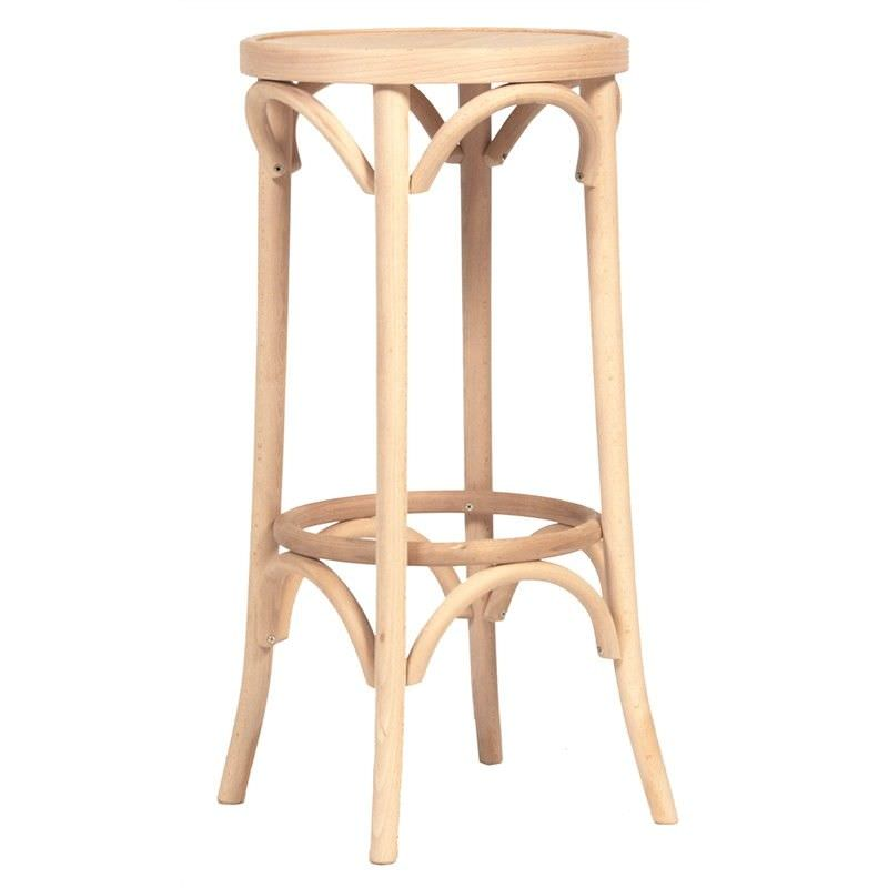 Florence Polish Made Commercial Grade Solid Beech Timber Bar Stool,  Natural