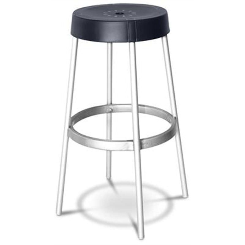 Gim Italian Made Commercial Grade Stackable Indoor/Outdoor Bar Stool, Anthracite