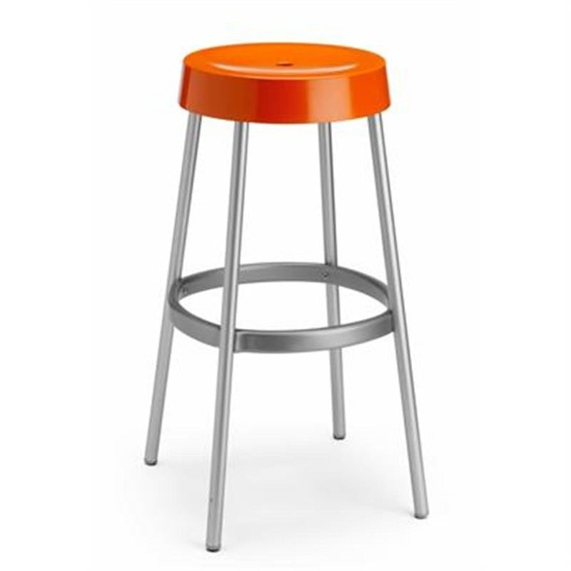 Gim Italian Made Commercial Grade Stackable Indoor/Outdoor Bar Stool, Orange