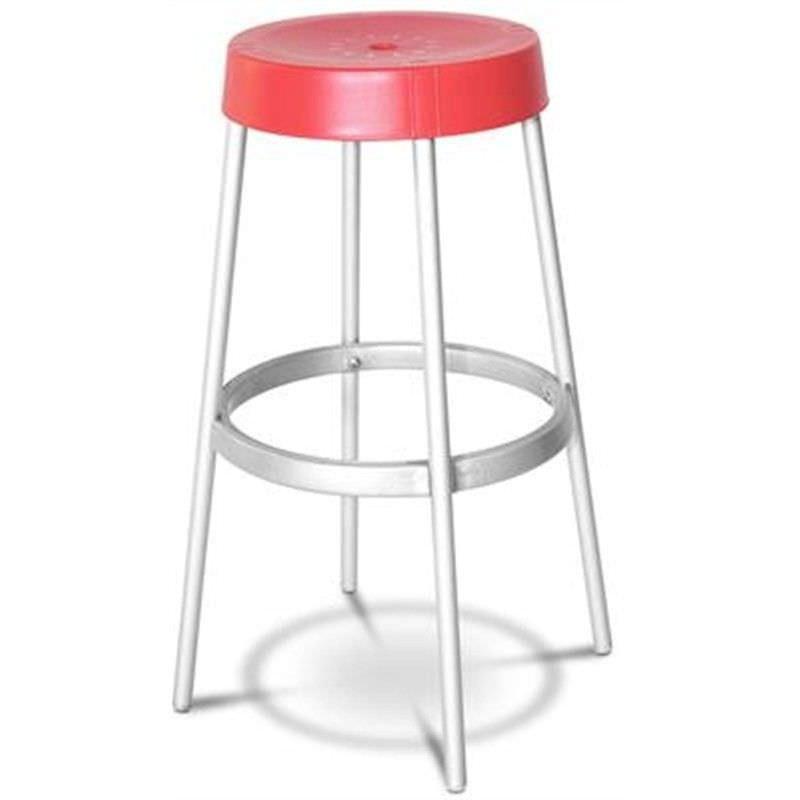 Gim Italian Made Commercial Grade Stackable Indoor/Outdoor Bar Stool, Red
